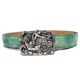 Acco Leather Belt with Buckle On The Sea