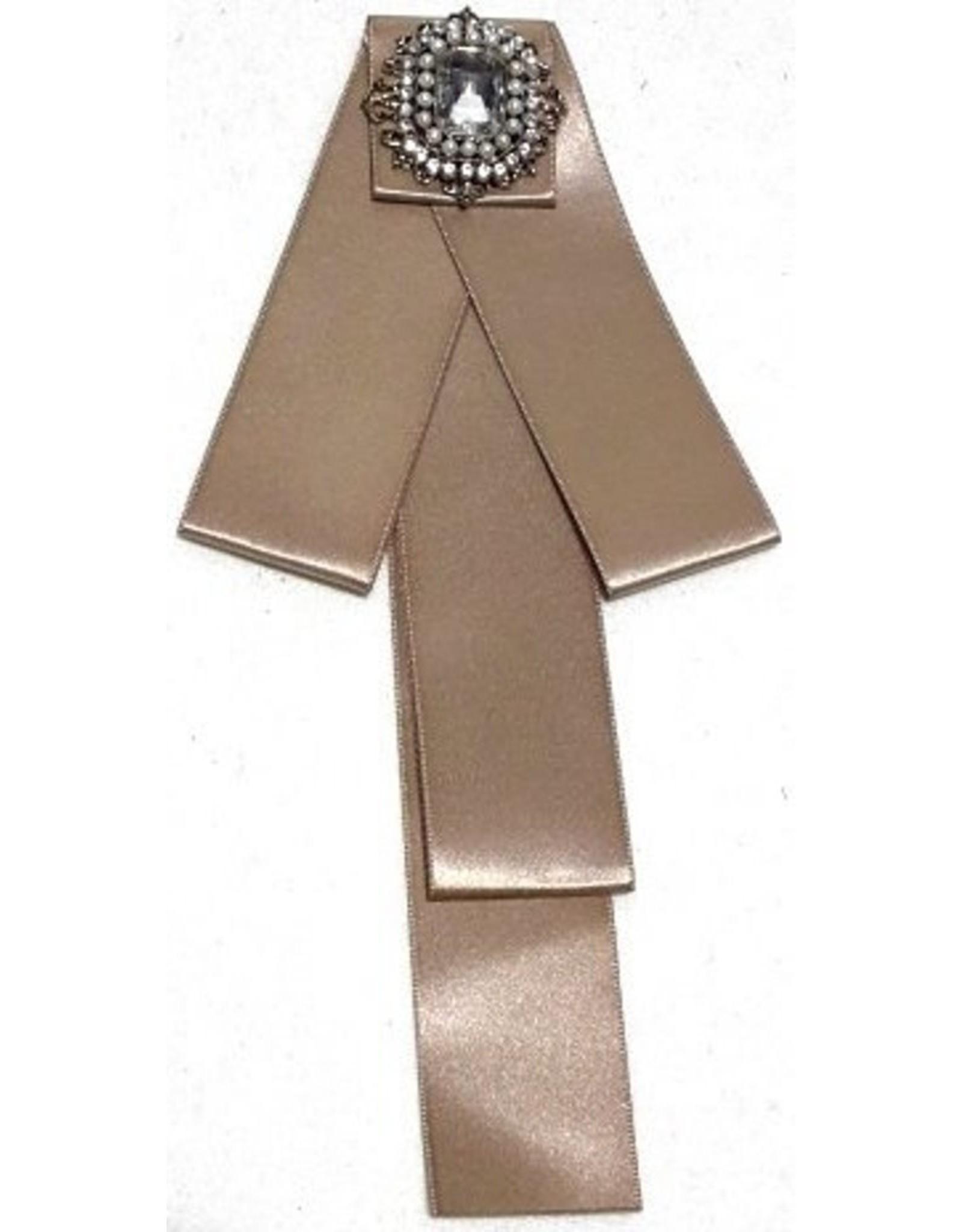 Dark Desire Gothic Steampunk accessories-Gothic Steampunk Brooch Ribbon Beige