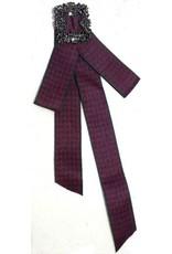 Dark Desire Gothic Steampunk accessories - Gothic Steampunk Brooch Ribbon Red