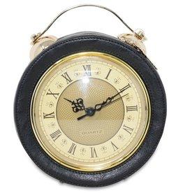 Trukado Fantasy shoulder bag with working clock black