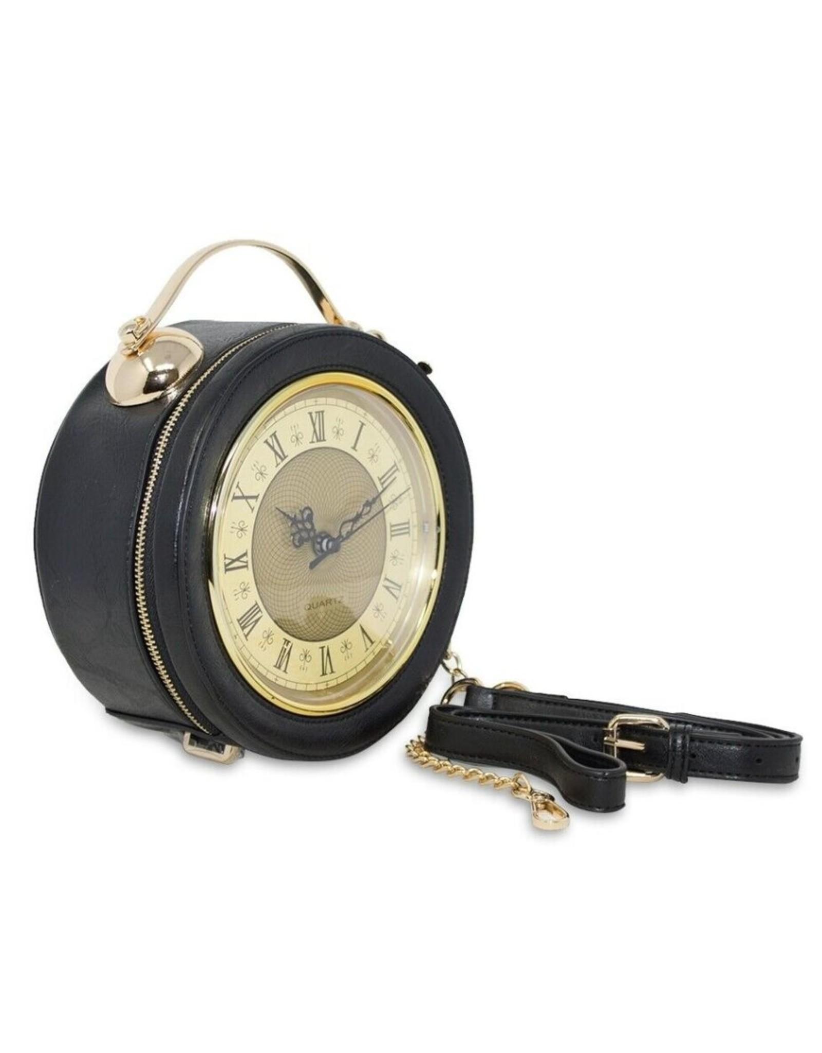 Fantasy tassen - Fantasy schoudertas met werkende klok zwart