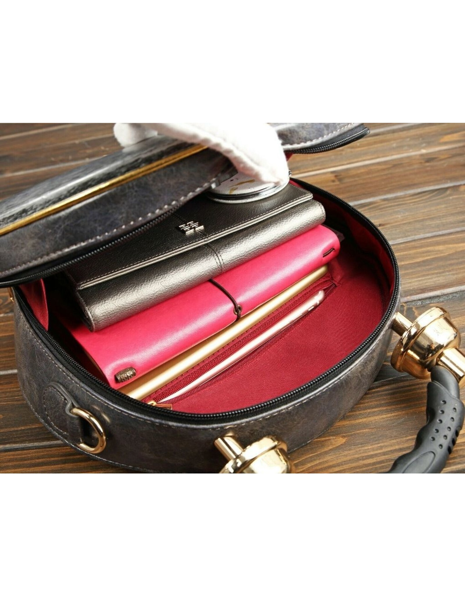 Magic Bags Fantasy tassen - tas met echt werkende klok antiek grijs