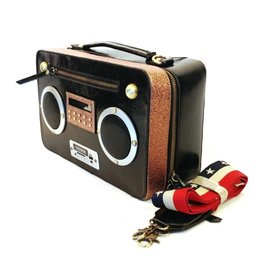 Magic Bags Boombox Retro Radio tas met WERKENDE Radio zwart