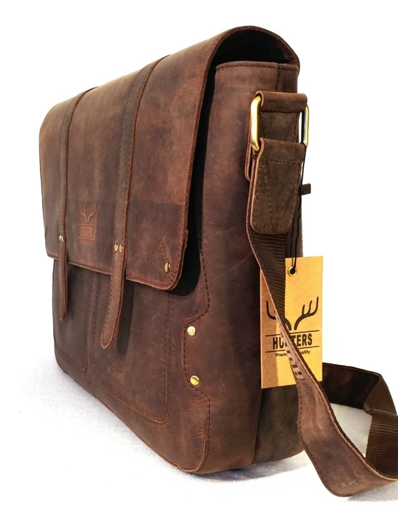Hunters Leather bags and Leather laptop bags - Hunters Leather Laptop bag Dark brown
