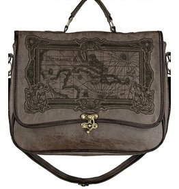Restyle Restyle satchel bag Map of Caribbean Sea (brown)