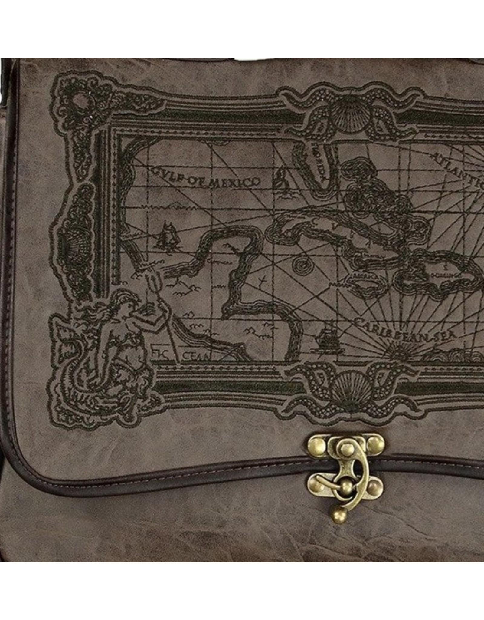 Restyle Gothic tassen Steampunk tassen -  Restyle schooltas Map of Caribbean Sea (bruin)