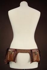 Restyle Gothic en Steampunk accessoires - Restyle Steampunk Heupriem met zakken (bruin)