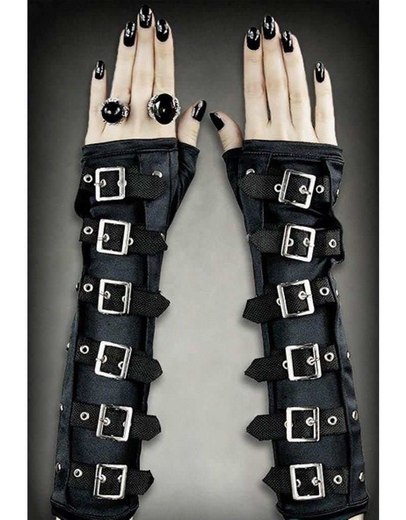 Restyle Gothic en Steampunk accessoires - Restyle Gothic Armwarmers met gespen
