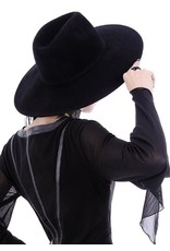 Restyle Gothic and Steampunk accessories - Black Gothic Hat with wide brim 'Witch'