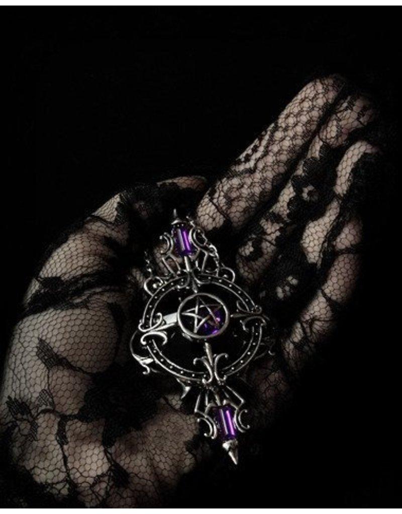 Restyle Gothic en Steampunk accessoires - Gothic Ketting met Pentagram hanger Mystic Mirror