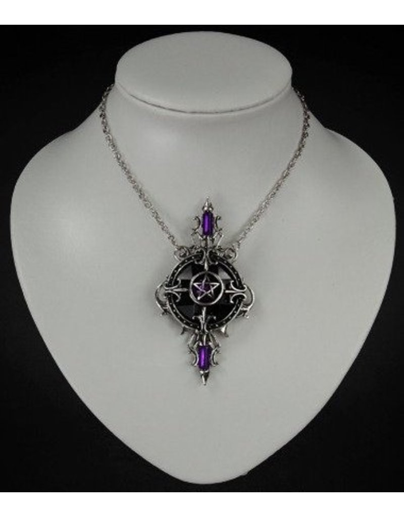 Restyle Gothic and Steampunk accessories - Gothic Necklace with Pentagram pendant Mystic Mirror
