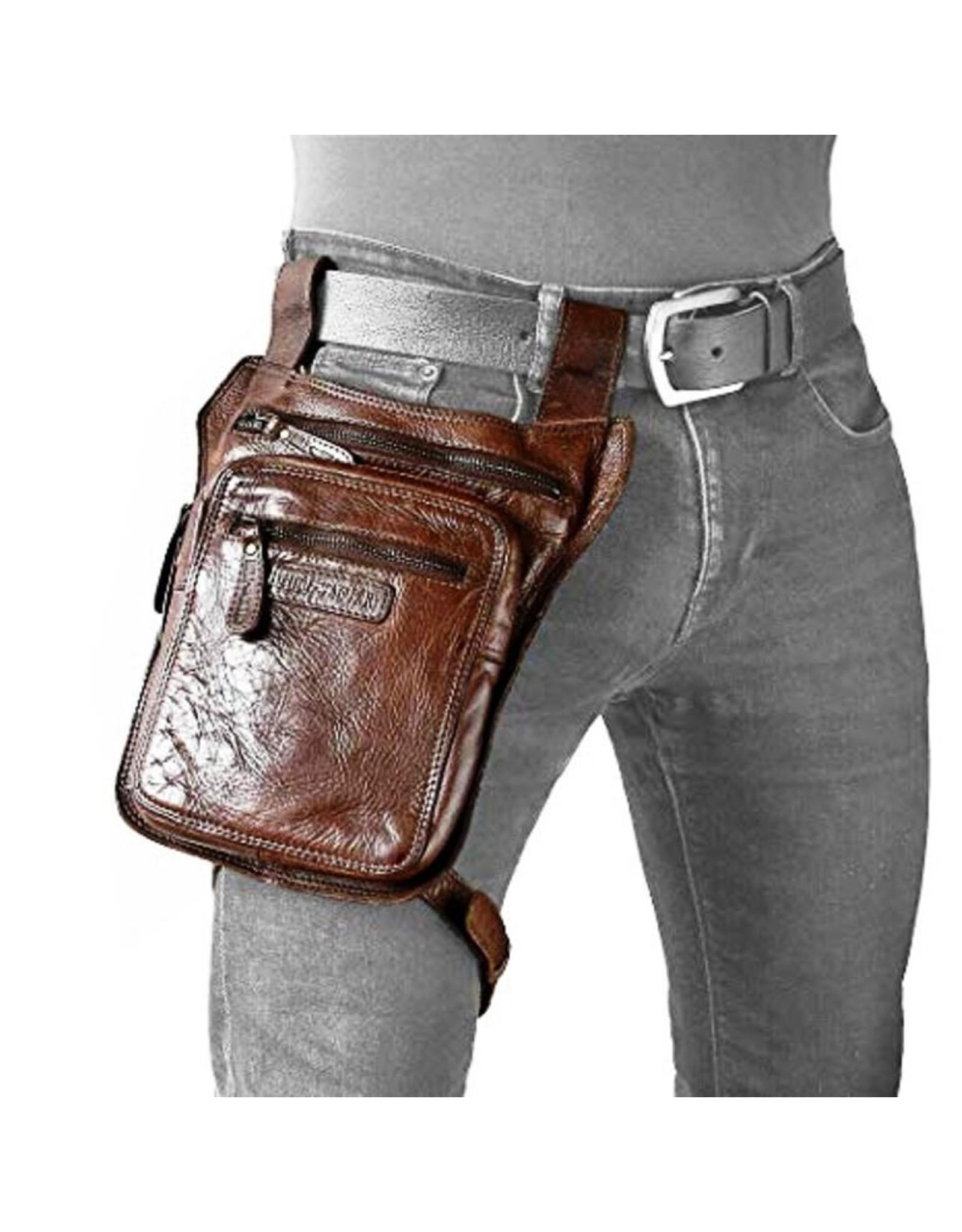 HillBurry Leather bags - HillBurry belt bag  leg bag washed leather brown