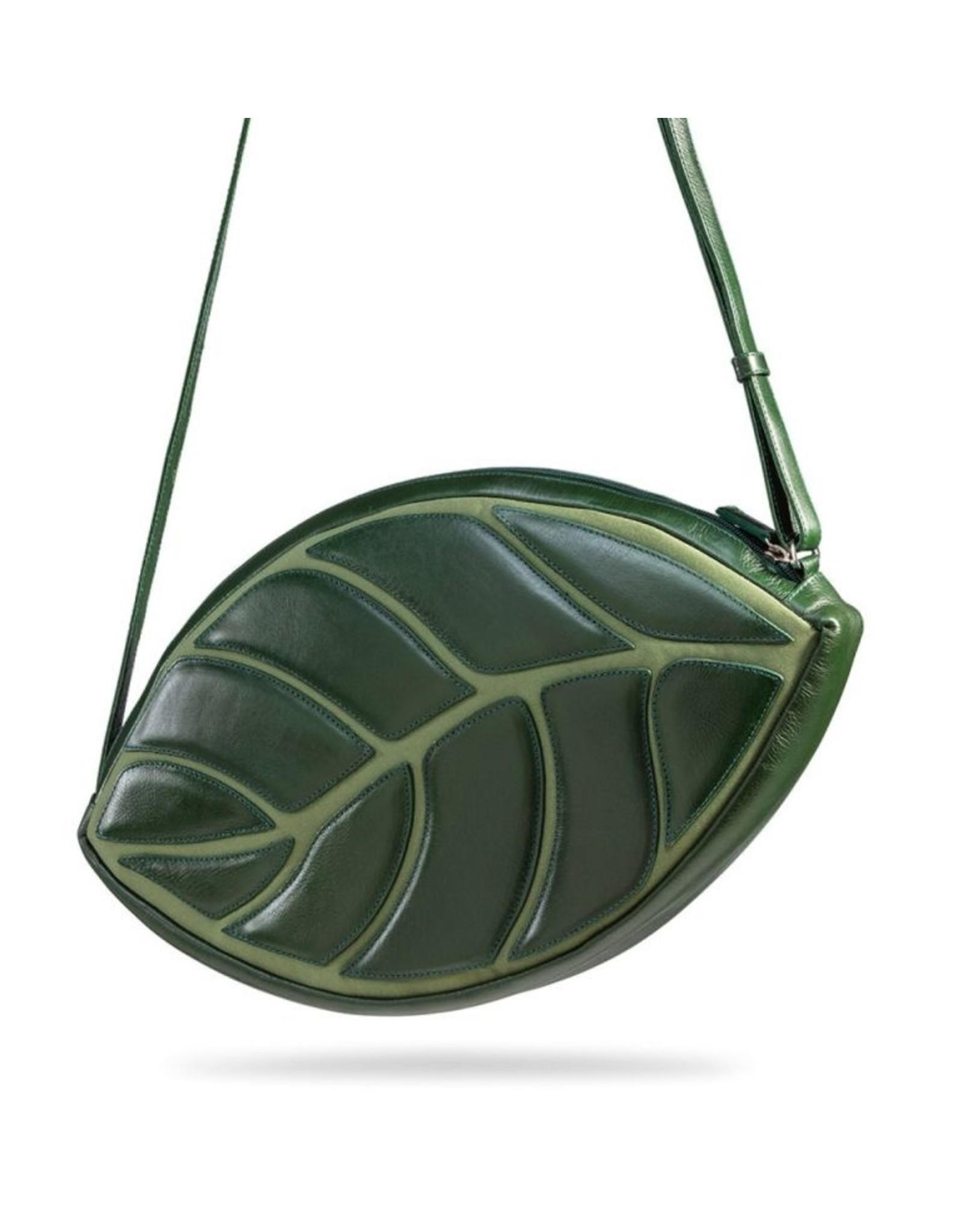 by-Lin Dutch Design Leren tassen - by-Lin Dutch Design Daun Leren schoudertas groen