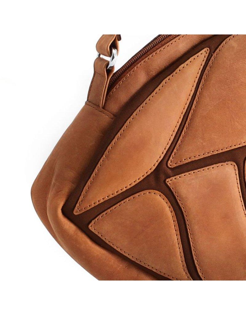 by-Lin Dutch Design Leren tassen - by-Lin Dutch Design Daun Leren schoudertas cognac