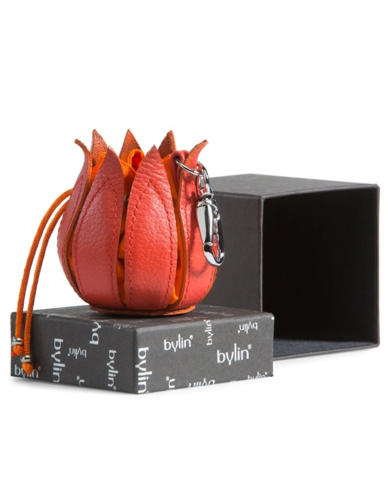 """by-Lin Dutch Design Leather Wallets - by-Lin My Little Tulip Leather keychain  """"Multi-Violet"""""""