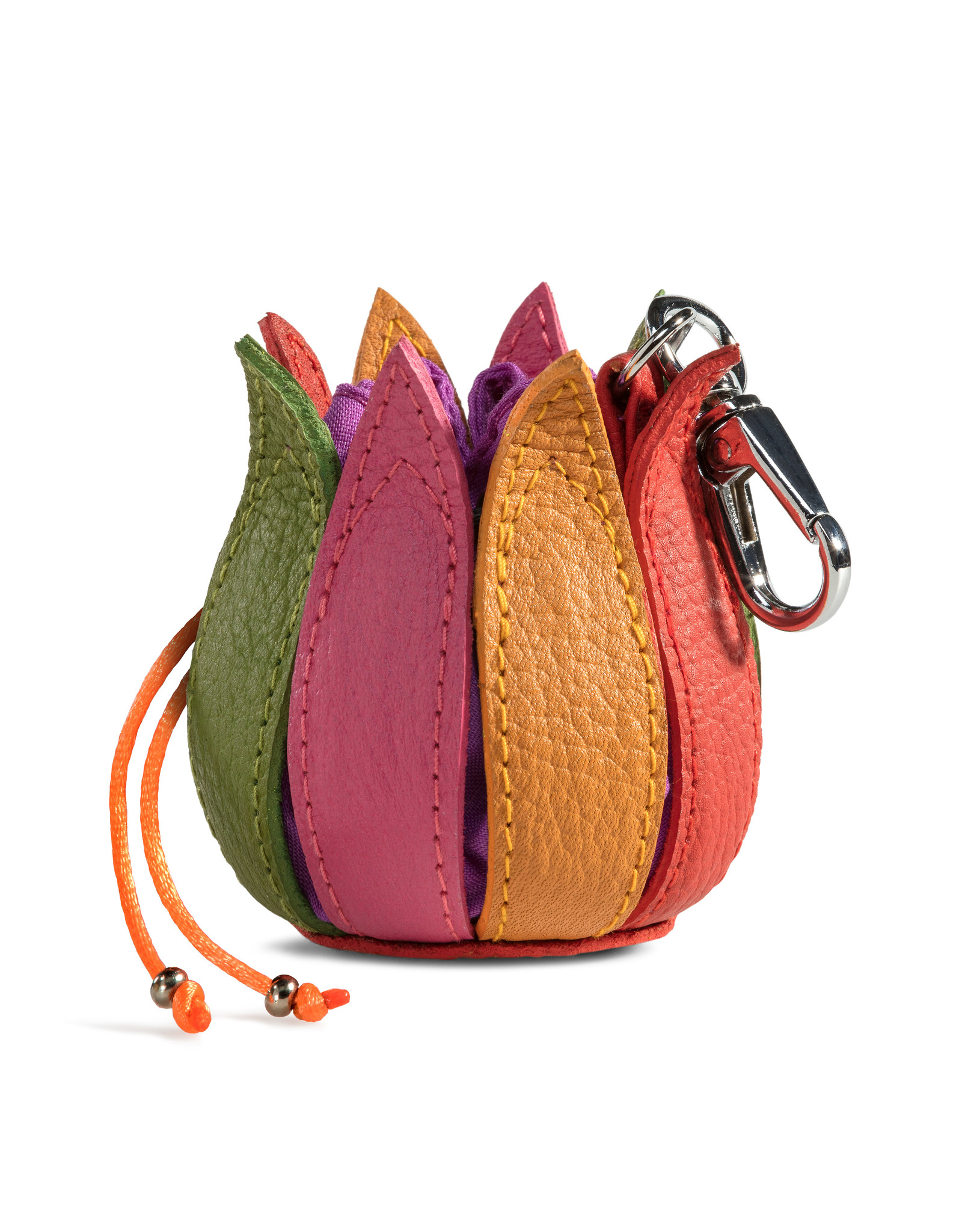 "by-Lin Dutch Design Leather Wallets - by-Lin My Little Tulip Leather keychain  ""Multi-Violet"""