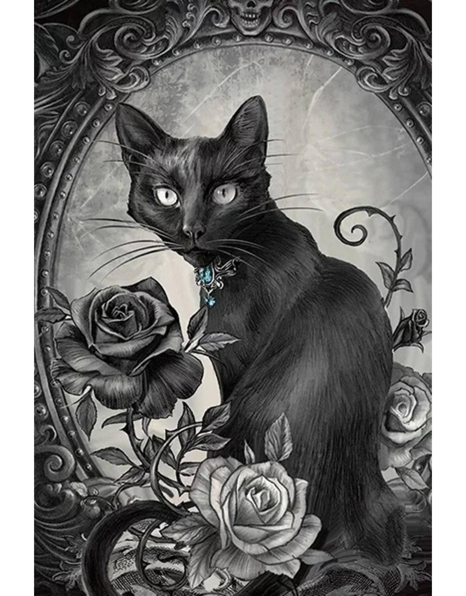 Alchemy Gothic tassen Steampunk tassen - Alchemy Parcelsus 3D handtas Zwarte Kat met  Roos
