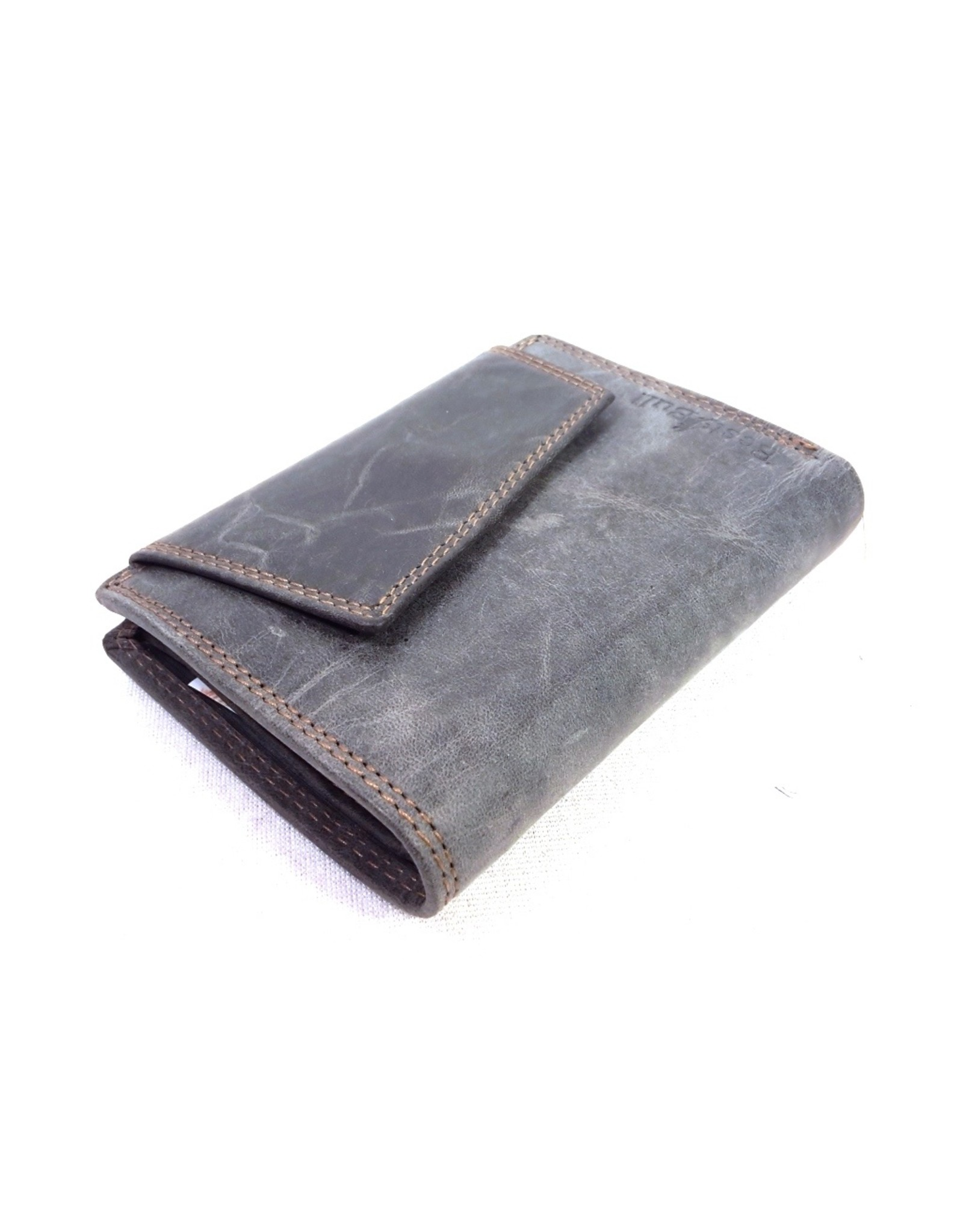 BestBull Leather Wallets -   Leather wallet with slanted cover grey
