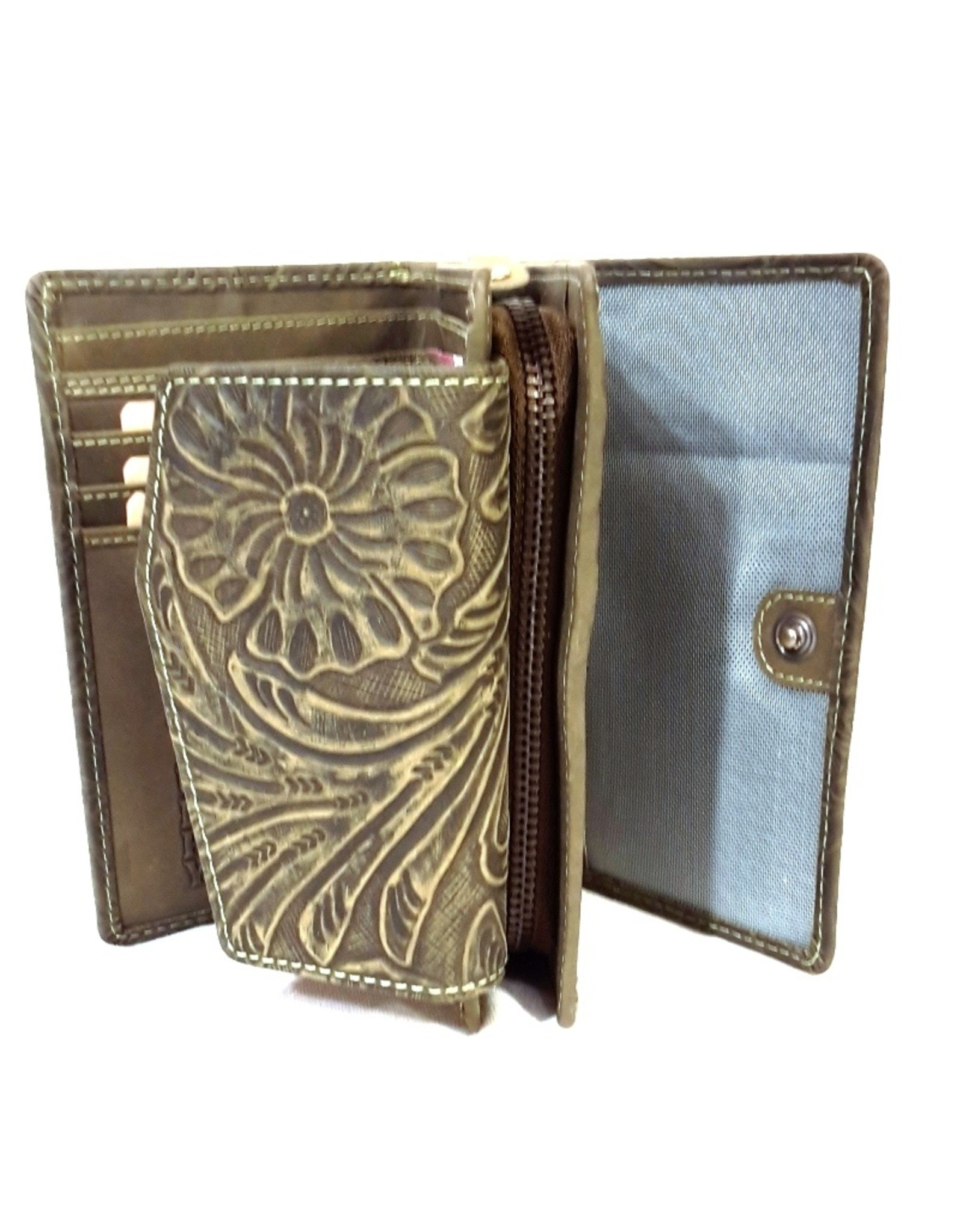 HillBurry Leather Wallets -  HillBurry leather wallet with pressed floral pattern green