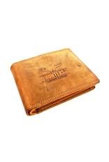 Hunters Leren Portemonnees - Leren portemonnee Hunters licht bruin (cognac)