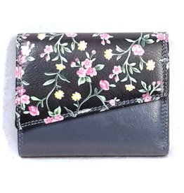 Louis Wallis Leather wallet with floral print on the cover (dark blue-black)