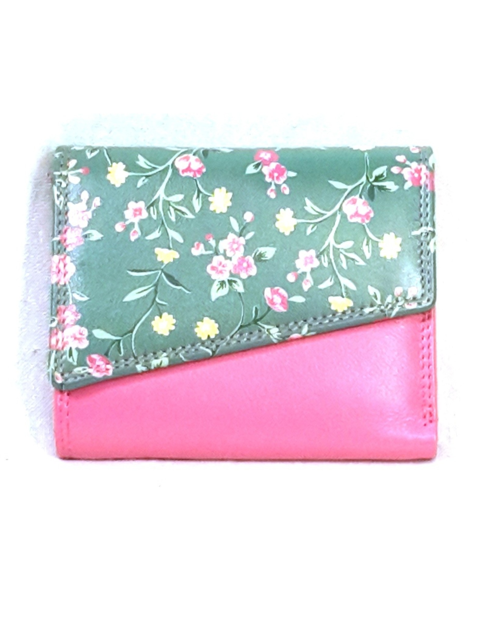 Louis Wallis Leren Portemonnees - Leren portemonnee met bloemenprint op de omslag ( fuchsia-groen)