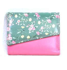 Louis Wallis Leather wallet with floral print on the cover (fuchsia-green)