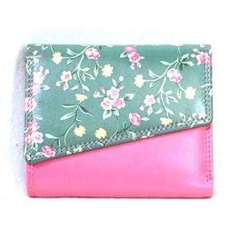 Louis Wallis Leren portemonnee met bloemenprint op de omslag ( fuchsia-groen)