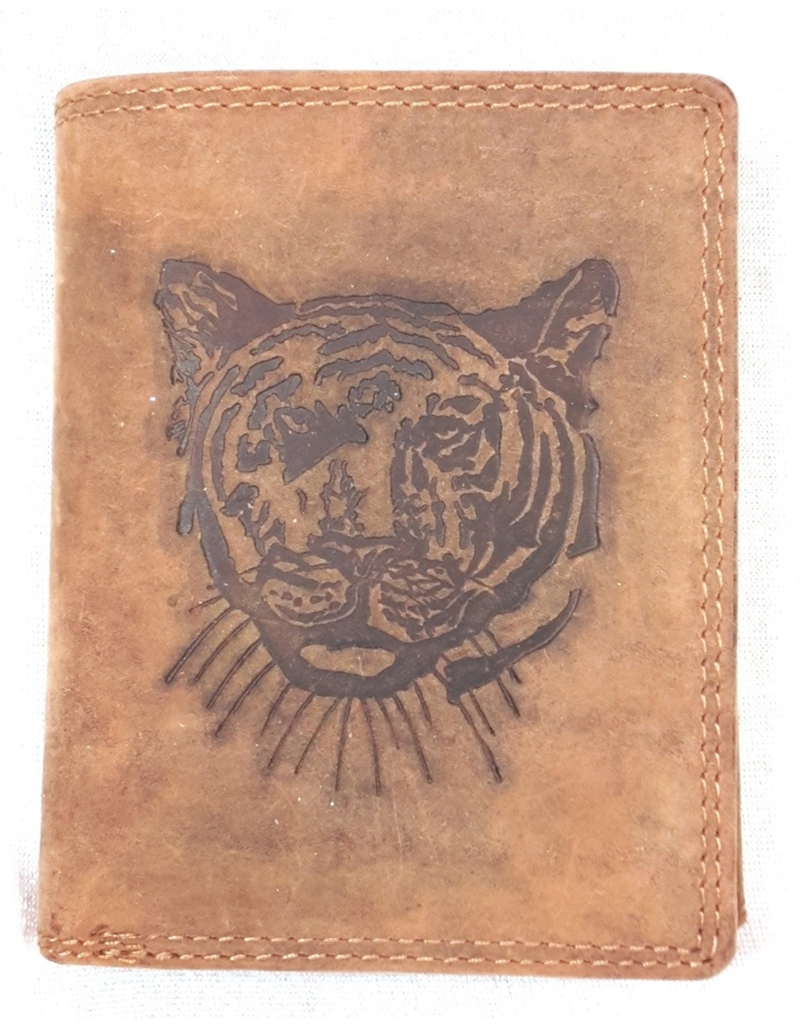 Huttman Leren Portemonnees - Leren portemonnee met  Reliëfprint Tijger (verticaal)