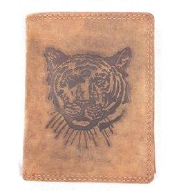 Huttman Leren portemonnee met  Reliëfprint Tijger (verticaal)