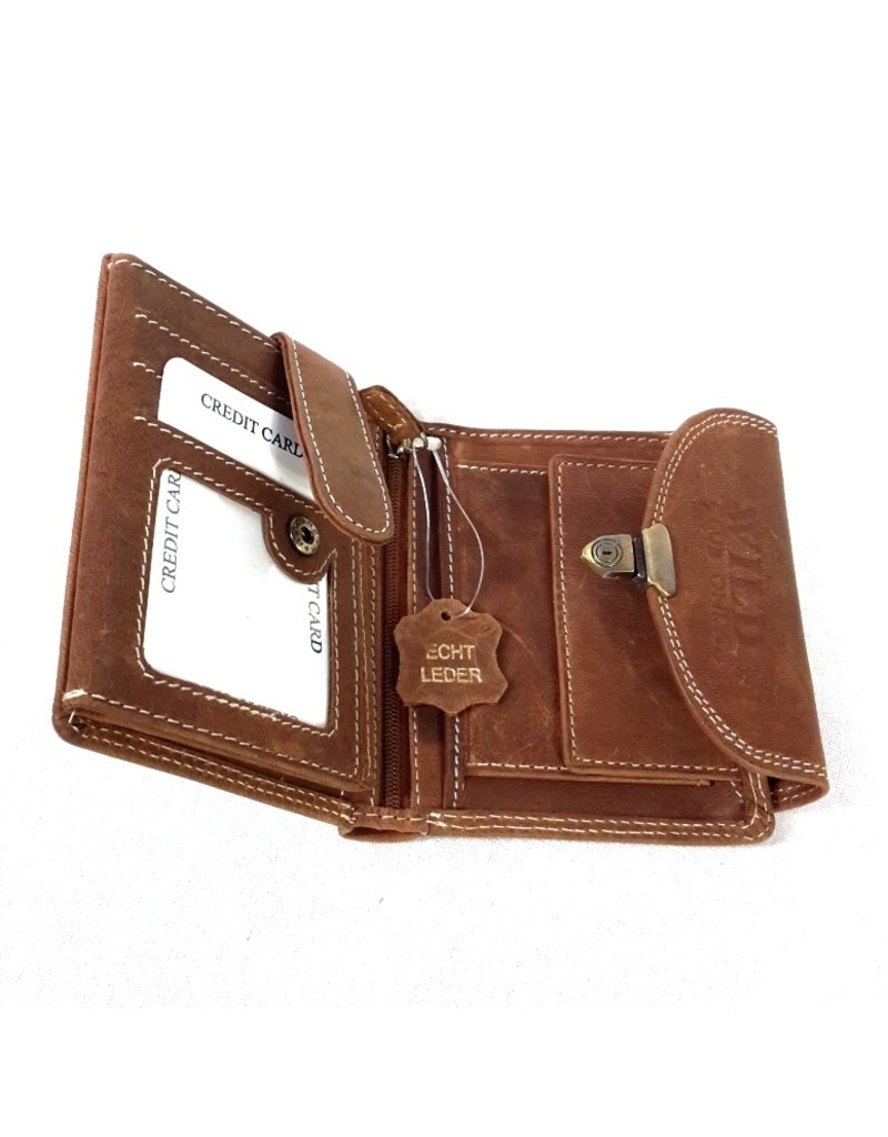 Wild Club Only Leather Wallets -   Leather wallet with slide closure semi-circular cover