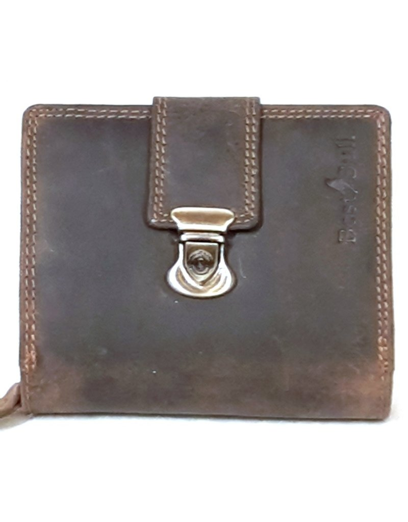 BestBull Leather Wallets - Leather wallet with slide closure and zip pocket