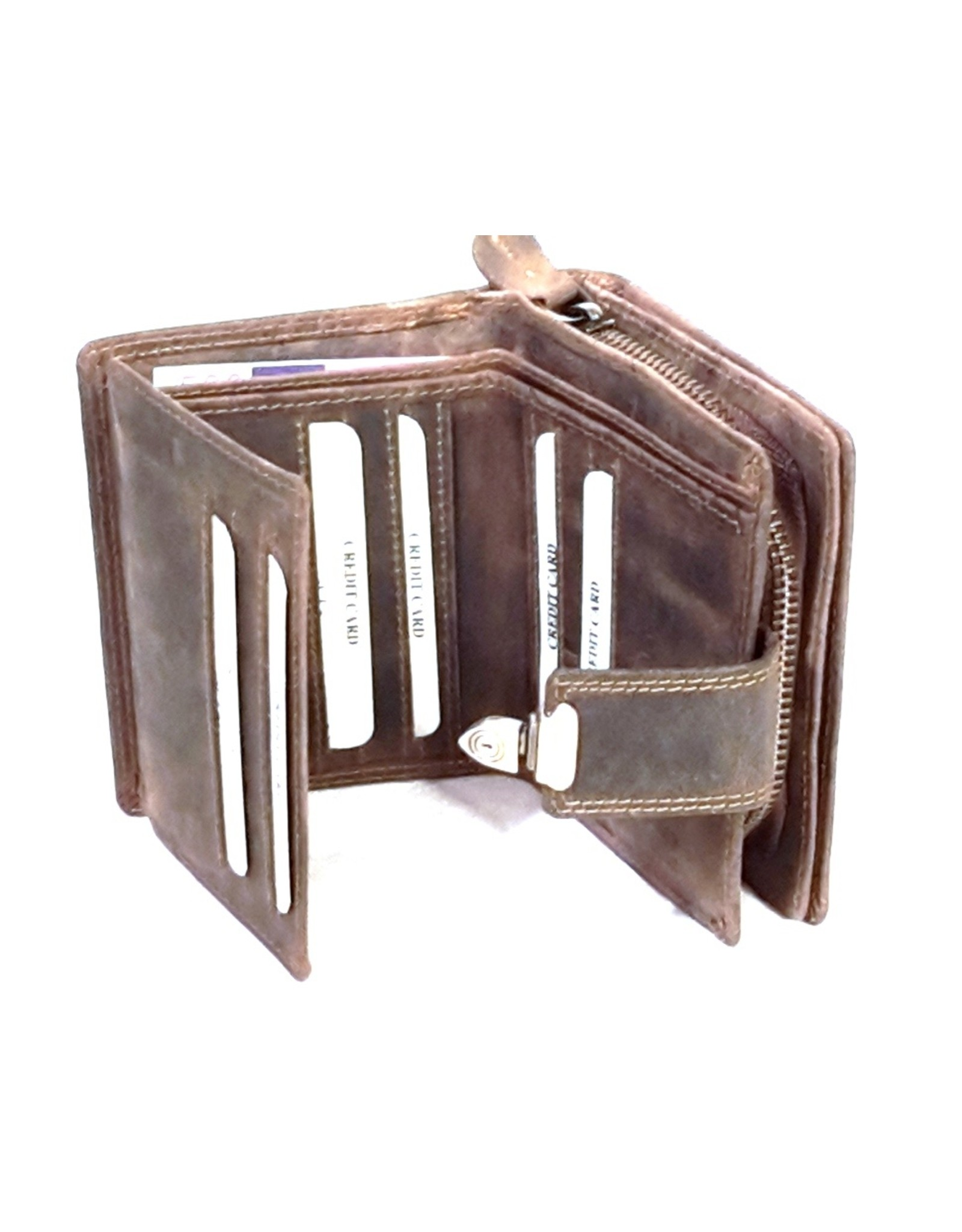 BestBull Leren Portemonnees - Leren portemonnee met shuifsluiting en ritsvak