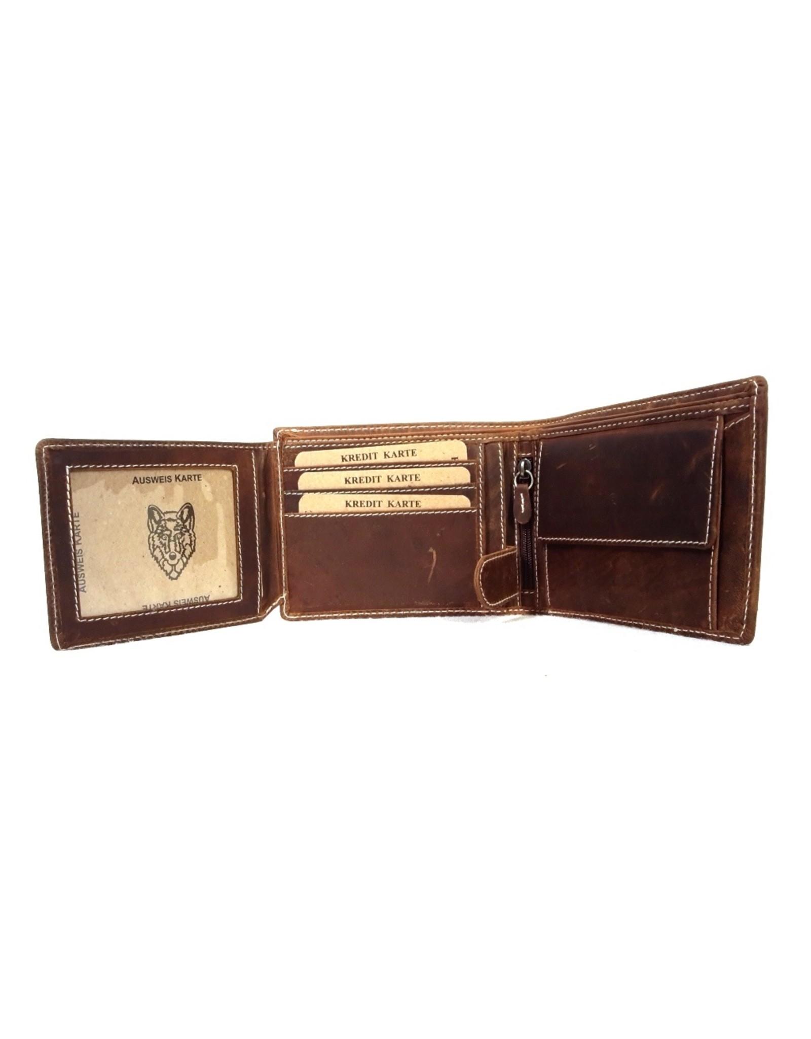 Leren Portemonnees - Leren portemonnee met reliëf Wolvenkop