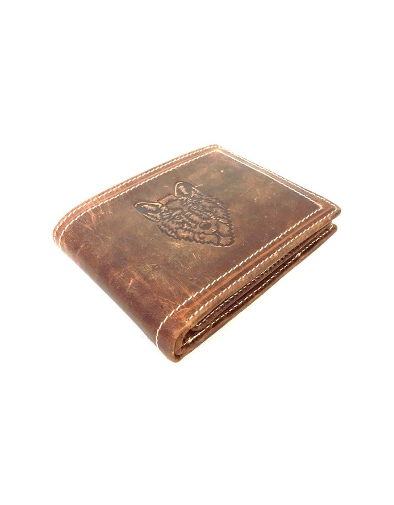 Stern Leather Wallets - Leather wallet with embossed Wolf head
