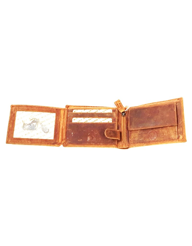 Wild Thing Leather Wallets -  Leather wallet with embossed motor (horizontal)