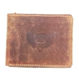 Stern Leather Statement wallet Skull with Marines Beret and Wings