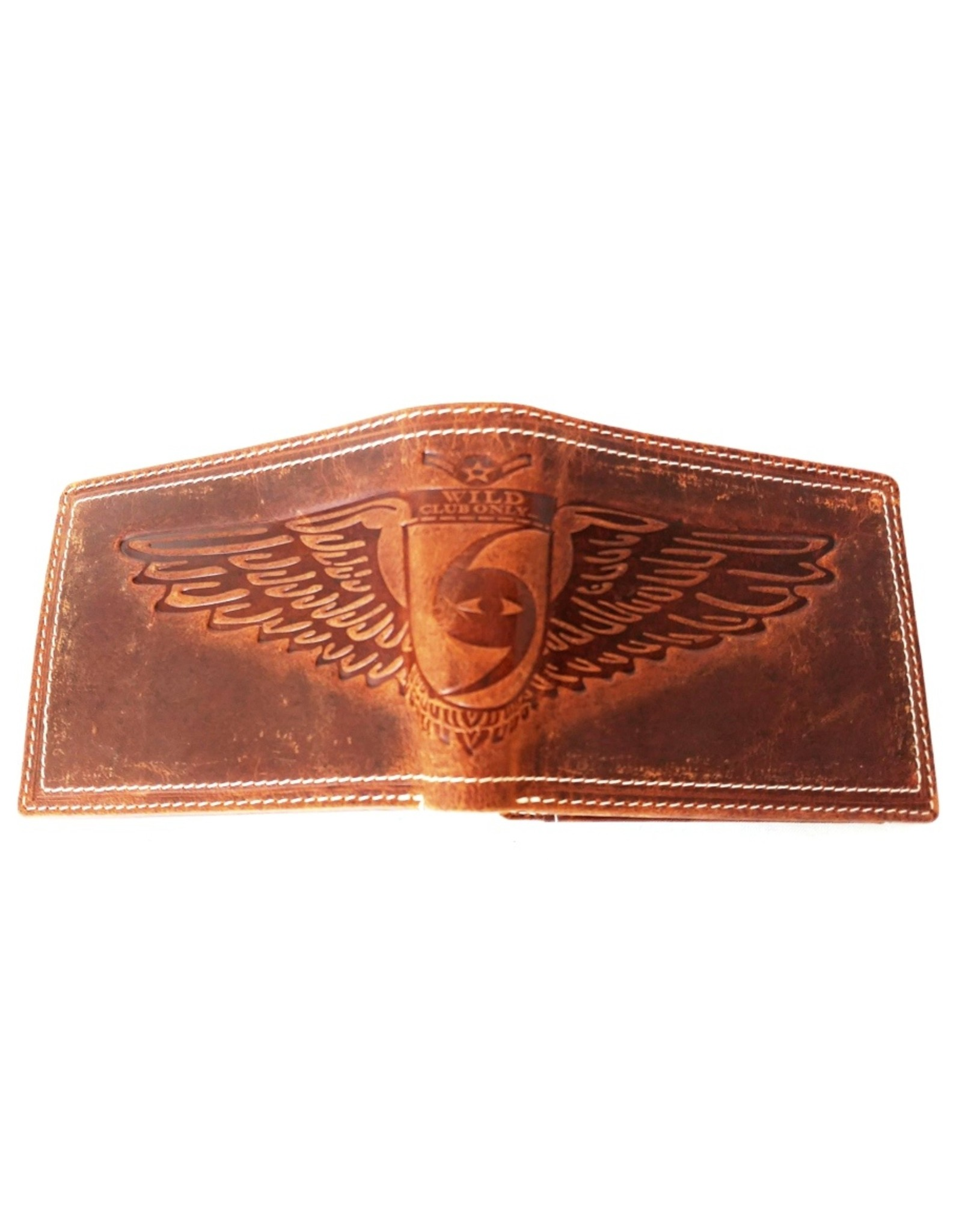 Wild Club Only Leather Wallets - Leather wallet with embossed Eagle Wings