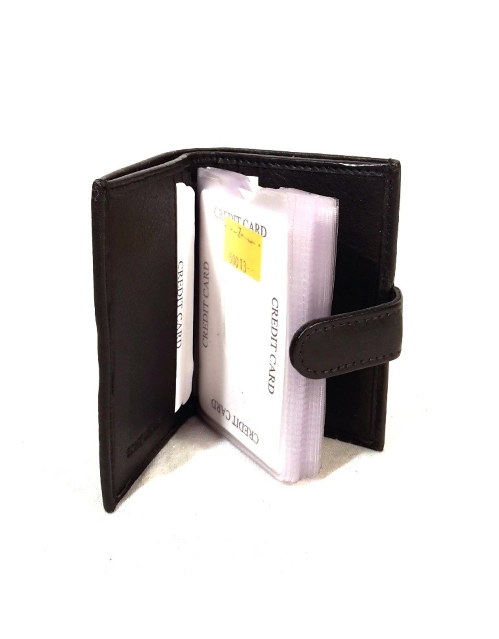 Stern Leren Portemonnees - Leren Mini-Portemonnee en Pasjeshouder in één  zwart