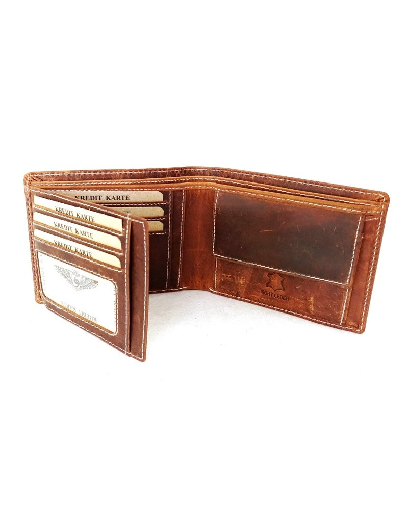 Wild Club Only Leather Wallets - Leather wallet with embossed eagle wings (standard size)