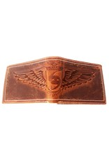 Wild Club Only Leather Wallets - Leather wallet with embossed eagle wings (large)