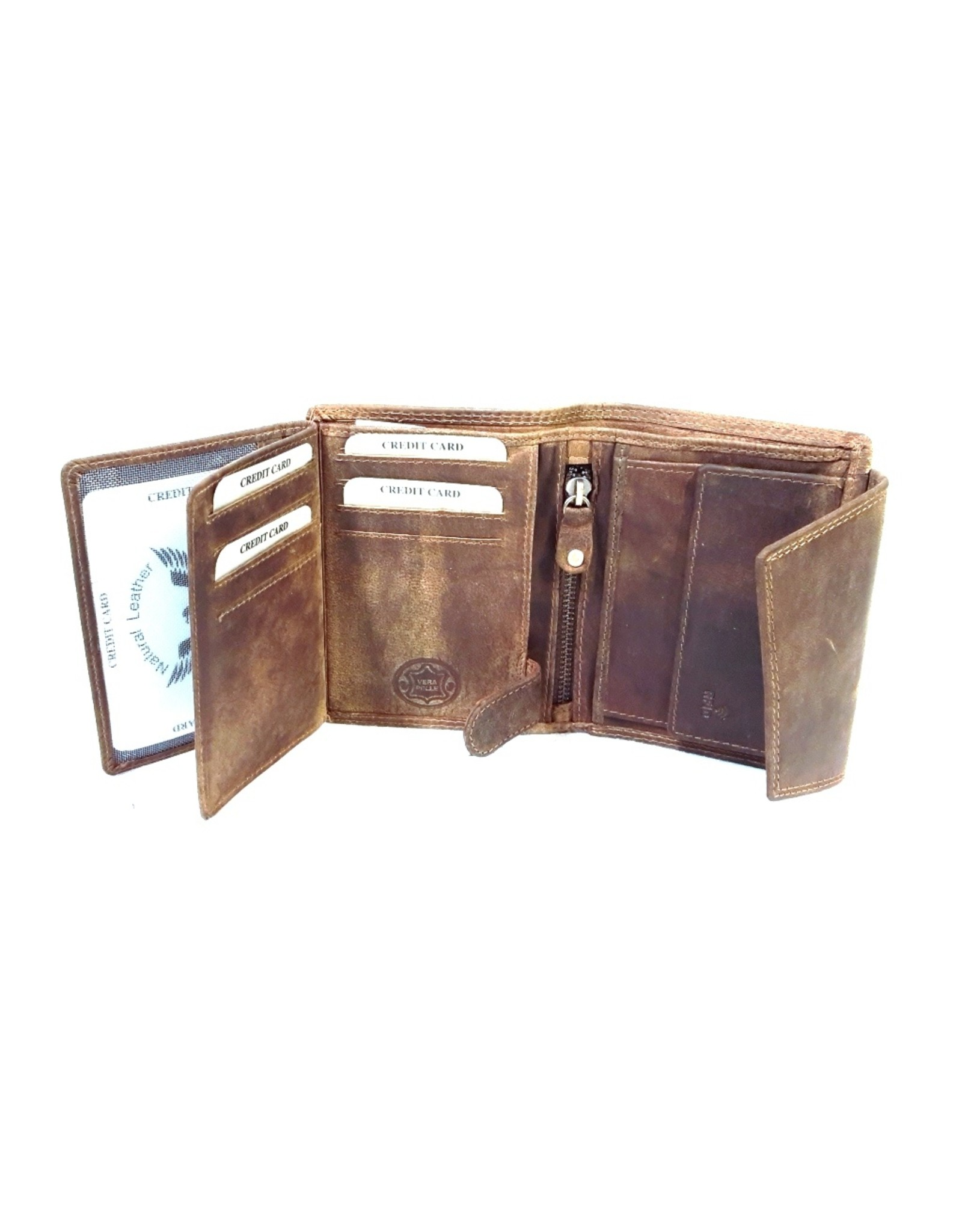 BestBull Leather Wallets -  Leather wallet with cover BestBull (brown)
