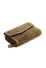 HillBurry Leren Portemonnees - Leren portemonnee met reliëf bloemenmotief  (groen)