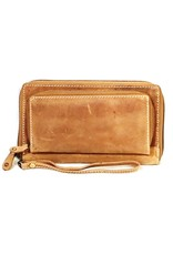 MicMac Leather Wallets - MicMac leather wallet with cell phone compartment (light brown)