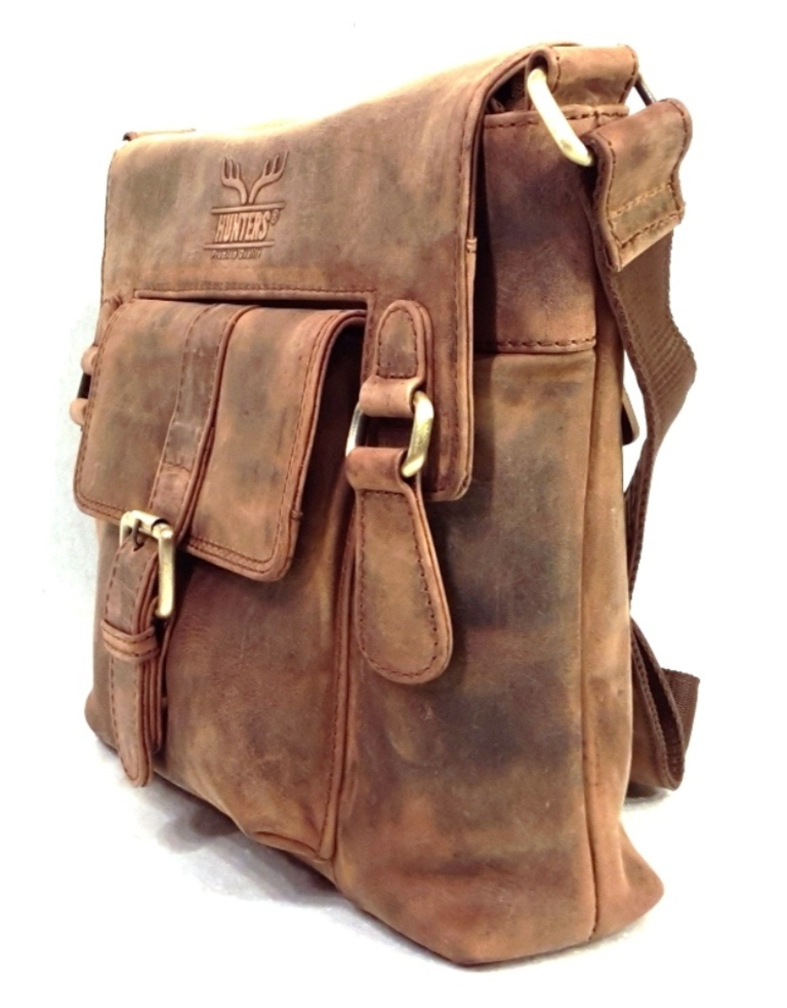 Hunters Leather bags - Hunters Leather shoulder bag with cover and front pocket