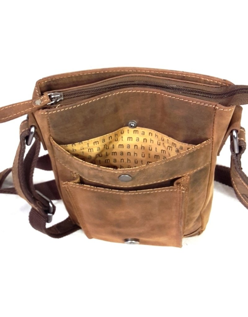 Hütmann Leather bags - Hütmann leather shoulder bag with cover and buckle (dark Tan)