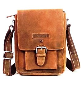 Hütmann Hütmann leather shoulder bag with cover and bucckle (dark Tan)