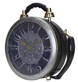 Fantasy tas met echt werkende klok antiek grijs