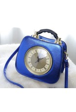 Magic Bags Fantasy bags and wallets - Retro Clock handbag with real working clock metallic blue