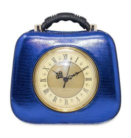 Magic Bags Retro Clock handbag with a really working clock metallic blue